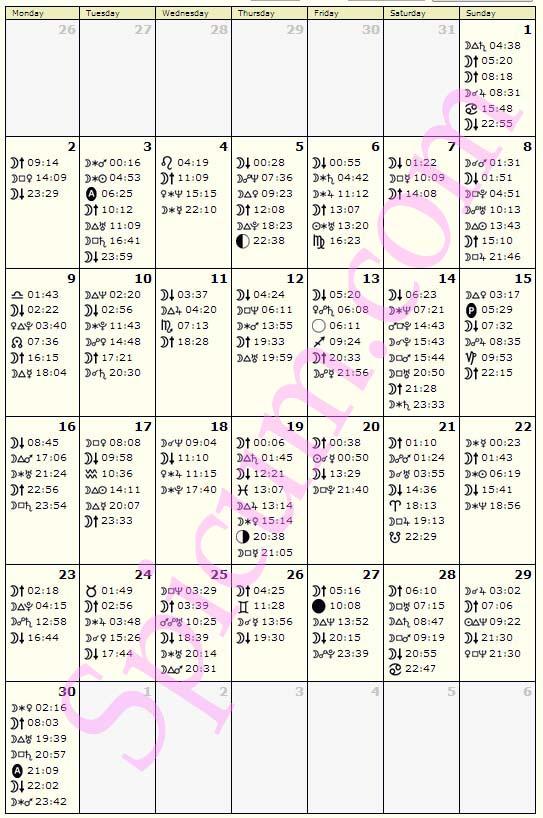 Astrološki kalendar Juni 2014.