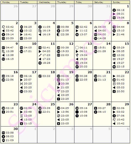 Lunarni kalendar Juni 2014 n