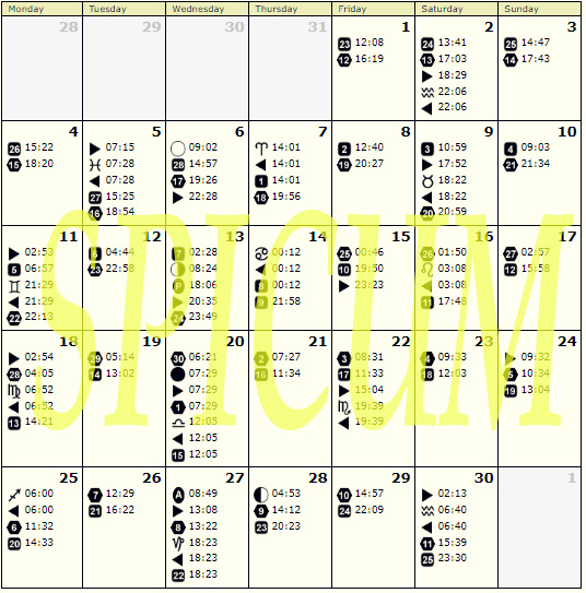 Lunarni kalendar za SEPTEMBAR 2017.