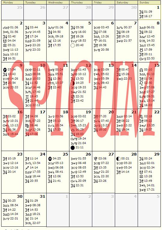 Astrološki kalendar OKTOBAR 2017.